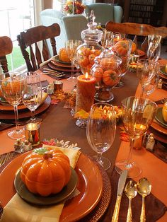 Fall Tablescape...Love the orange pumpkin soup bowls!!!  Halloween Monster