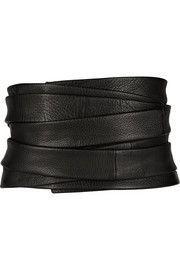 The Row Inton textured-leather belt Corset Belt, Leather Corset, Biker Leather, Fashion Belts, Fashion Accessories, T Shirt Crop Top, Giuseppe Zanotti, Scarf Belt, Miu Miu