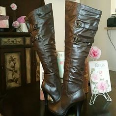 Boots (New)Brown Knee High Shoes Over the Knee Boots