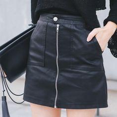 41814da1e Las 12 mejores imágenes de Faux leather skirt en 2016 | Cuero negro ...