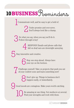 10 Business Reminders, by Weswen Design - Tips and are my favorite. Small business success tips Business Advice, Business Planning, Career Advice, Business Quotes, Business Management, Salon Business, Career Planning, Small Business Marketing, Craft Business