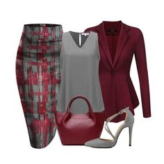 Hybrid and Company printed pencil skirt, an ACEVOG peplum blazer Jacket, A Regina X v-neck blouse, a genuine leather trapeze luxury handbag and a pointy toe cross strap stiletto completes a great look. Classy Outfits, Chic Outfits, Fashion Outfits, Womens Fashion, Fashion Trends, Skirt Outfits, Skirt Fashion, Mode Outfits, Office Outfits