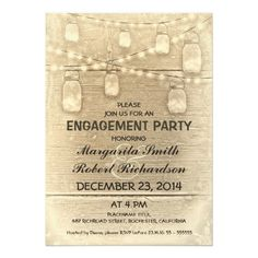 rustic stylish mason jars and string lights engagement party invitation