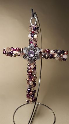 Hand Beaded IV Pole Healing Cross - Customization available Old Jewelry, Jewelry Crafts, Jewelry Making, Bead Embroidered Bracelet, Friendship Symbols, Cross Art, Beaded Cross, Rosary Beads, Weekend Projects