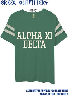Greek Outfitters Alpha Xi Delta Alternative Apparel Football shirt #grafcow