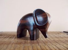 Mid Century Modern Carved Wooden Abstract Elephant Figureine on Etsy, $55.00
