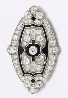 An Art Deco diamond and onyx brooch by Cartier  Designed as a navette shaped plaque of pierced geometric design, set with old-brilliant-cut diamonds and calibré onyx detail, with diamond border and trefoil terminals, circa 1925 Signed Cartier Londre