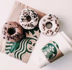 Inspiring image breackfast, coffee, donuts, starbucks by olga_b - Resolution - Find the image to your taste Starbucks Coffee, Starbucks Gift Card, Starbucks Drinks, Starbucks Art, Starbucks Recipes, Coffee Drinks, Starbucks Calories, Starbucks Merchandise, Starbucks Birthday