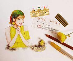 IU FanArt Woony Color Pencil Art, Asia Girl, Colored Pencils, Watercolor Art, Chibi, Disney Characters, Fictional Characters, Fan Art, Disney Princess