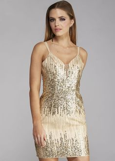 Love Stella 9053 Gold Sequin Dress