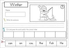 Sentence Scramble with Cut and Paste Worksheets - Winter Theme. There are 22 sentences to build and includes differentiated worksheets. Fun pocket chart word work activity!