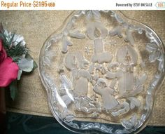 Christmas Serving Dish Angels and Candles Plate Elegant Clear