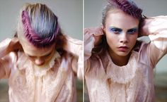 Purple hair and swing plait.