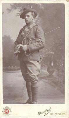 Victorian studio portrait photograph of a boer war era soldier. By Beaufort of The Grand Studio, Colemore Row, Birmingham. Circa 1890/1900.