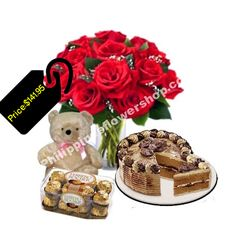 Send 12 Red roses in Vase with 16 pcs Ferrero rocher chocolate and small white teddy bear among with mocha crumble cake by Red Ribbon to make this an unforgettable gift selection for your loved one. Ferrero Rocher Chocolates, White Teddy Bear, Online Gift Shop, Rose Cake, Red Ribbon, Mocha, Red Roses, Philippines, Birthdays