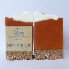 Pumpkin Pie Soap   A dessert inspired soap made with real pumpkin puree and pumpkin seed oil made on a biscuit soap base of oats & honey. Full of antioxidants and enzymes, this bar of soap gives your skin its 5 a day! This one is fragranced with warm spices and looks like a lush slice of pie! $6.50