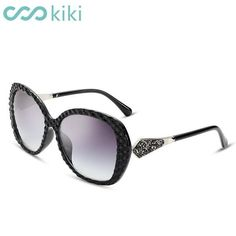 KIKI Women Polarized Sunglasses New Big Round PC Frame Black Luxury Ladies Driving gafas de sol mujer #luxurymujer