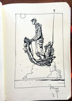 sketchbook, ship, ink, horizon