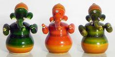 Set of Three Sitting Ganesha - (Chennapatna Toy) (Wood))
