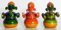Set of Three Sitting Ganesha - (Chennapatna Toy) (Wood))