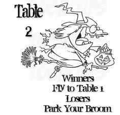 Table 2 Witches Bunco Card.   Print on Cardstock and laminate.   Feel Free to use