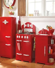 Red Retro Kitchen Playroom from Pottery Barn.  I want the grown-up version from Elmira Stove Works