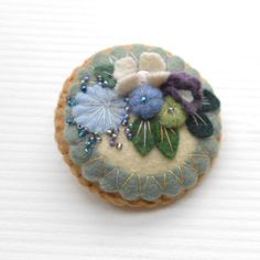 Felt Pin -   Flower Garden - Spring Flowers  -  Plum, Lavender, Violet, Off White. $17.00, via Etsy.