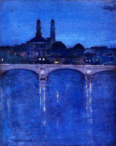 """»✿Blue✿« """"The Trocadéro, Paris"""" c.1902 by John Duncan Fergusson (1874-1961)"""