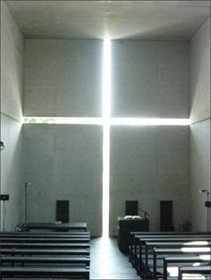 Tadao Ando - church of the light. I looked into this architect. It's interesting how he used buddhist principles to design a christian church. Sacred Architecture, Church Architecture, Japanese Architecture, Interior Architecture, Interior And Exterior, Tadao Ando, Church Of Light, Deco Restaurant, Church Design