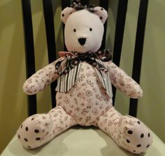 (This item has been sold but you can custom order a similar item. Email us and let us know what you want.) Teddy Bear: Custom order yours for that special little one. Hearts & Teddy Bears Baby Rag Quilt with matching teddy bear. 14027. $65.00