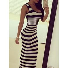 Fashoinable U Neck Sleeveless Striped Color Block Maxi Dress For Women