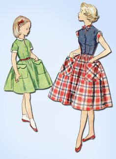 1950s Vintage Simplicity Sewing Pattern 4387 Little Girls Day Dress Size 10 28B