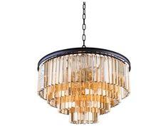 Elegant Lighting Sydney Mocha Brown & Golden Teak Crystal 17-Lights 32'' Wide Pendant Light