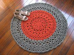 Khaki copper Crochet  mat  Recycled cotton  tshirt yarn  by Chompa