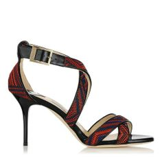 save off 78265 11ca5 Red and Navy Woven Fabric and Patent Sandals