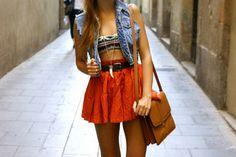 Jean Vest / hight waisted skirt / aztec bandeau ~