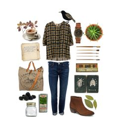 Untitled #268 by the59thstreetbridge on Polyvore featuring Current/Elliott, Campomaggi, Crate and Barrel and PLANT