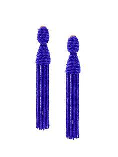Oscar de la Renta beaded tassel clip-on earrings