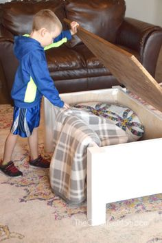 How to Build a Farmhouse Coffee Table (with storage)- free building plans - The Creative Mom