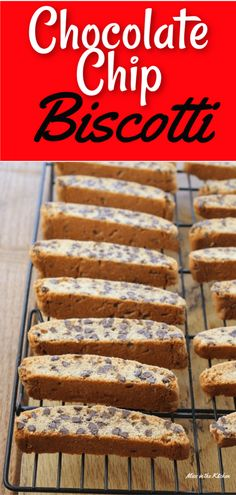 Chocolate Chip Biscotti is my favorite to bake and share for the holidays. The perfect cookie for dunking in coffee or ice cold milk! Makes a large batch for Christmas cookie trays! Biscotti Cookies, Yummy Cookies, Almond Cookies, Bar Cookies, Chip Cookies, Homemade Chocolate, Chocolate Recipes, Biscotti Recipe Chocolate Chip, Chocolate Cookies