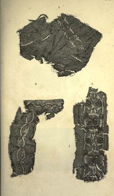 """Detail of a Mammen textile  """"Om Mammen-Fundet"""" in Aarboger for Nordisk Oldkyndighed og Historie. 1869."""