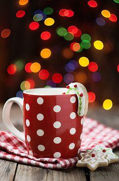 Polka dot mug with candy cane cookie