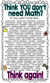Think you don't need Math? FREE poster Cute poster for your math classroom! you don't need Math? FREE poster Cute poster for your math classroom!Cute poster for your math classroom! Classroom Posters, School Classroom, Classroom Desk, Classroom Quotes, Math Posters Free, Math Classroom Decorations, Math Resources, Math Activities, Math Strategies