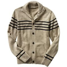 Gap Striped Button Mock-Neck Cardigan (3.320 RUB) ❤ liked on Polyvore featuring tops, cardigans, men, sweaters, mens sweaters, button front tops, brown tops, mock neck top, mock neck cardigan and brown cardigan