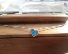 Vintage Sterling Silver 925 Genuine Inlaid Turquoise Heart Necklace w/Sterling Silver Beads 14 3/4 Inches Long Weight is 3.8 Grams