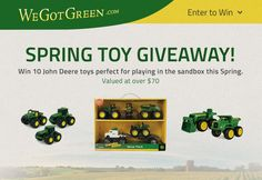 I just entered to win John Deere toys from WeGotGreen.com - You can too! It's quick and easy!
