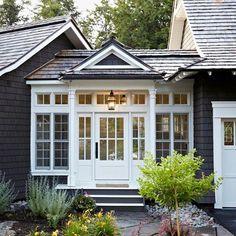 Breezeway w a little conservatory inspiration. Cottage House Designs, Cottage House Plans, Cottage Homes, Cottage Ideas, Bungalow Homes, Porch Addition, Garage Addition, Farmhouse Addition, Garage Door Design