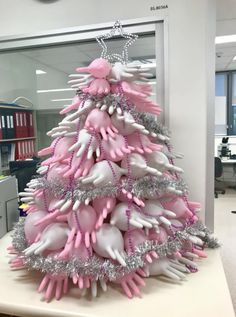christmas costumes diy This Christmas Tree Made Of Latex Gloves In My Laboratory Christmas Is Over, Real Christmas Tree, Whimsical Christmas, Christmas Tree Themes, Christmas Costumes, Xmas Tree, Christmas Diy, Christmas Wreaths, Office Christmas Decorations
