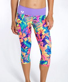 Another great find on #zulily! Neon Tahitian Floral Rain Yoga Capri Leggings #zulilyfinds