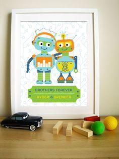 Modern Robot Artwork For Children Brothers Forever 11x14 24 00 Via Etsy